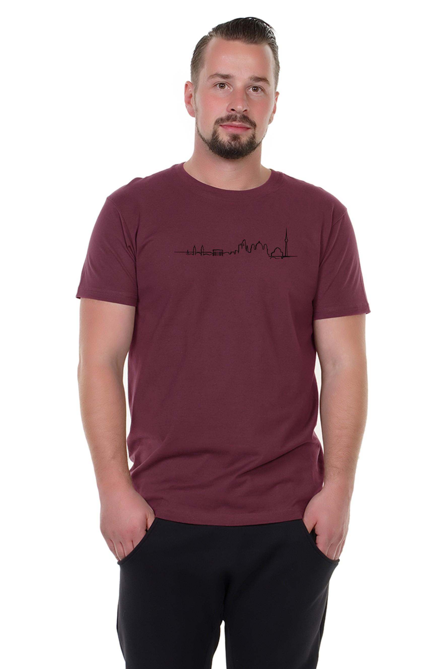 Spree Shirt Männer bordeaux skyline
